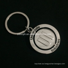 Medida Zinc aleación giratorio llavero niquelado para el propósito promocional