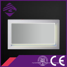 Miroir rétro-éclairé de salle de bains d'écran tactile de cadre en bois LED avec l'horloge