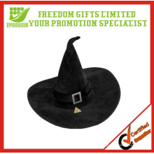 Trajes do vestido de fantasia do chapéu preto da bruxa da bruxa da veludinha