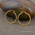 Pendiente plateado oro redondo del aro del círculo del acero inoxidable de las mujeres
