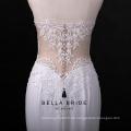 Nach Maß hochwertiges Satingewebe besticktes Hochzeitskleid mit Pailletten und Spitze