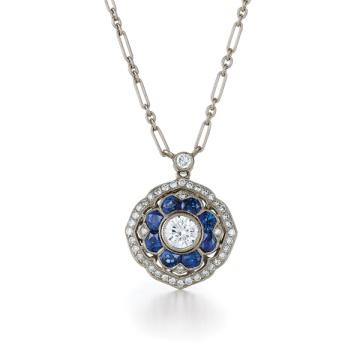 Einfache Entwürfe Blauer Diamant 925 silberner Anhänger-Halsketten-Schmucksachen