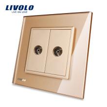 Livolo Gold Панель из хрусталя VL-C792V-13 Wall 2 Gang TV Розетка Электрическая вилка