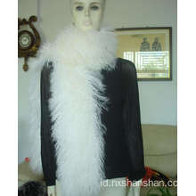 Mode Handmade Grey Mongolian Lamb Fur Scarf