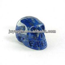 Crâne de pierres précieuses naturel Lapis Lazuli sculpté, crâne découpé en pierres précieuses