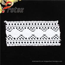 Blanco Tela de poliéster de alta calidad / encaje de algodón