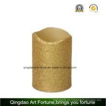 Golden Glitter ondulado LED cera vela con temporizador para decoración