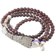 Natural Garnet Beads Bracelet with Silver Charm (BRG0025)