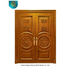 Porta de madeira maciça de estilo clássico para duas portas com escultura (ds-008)