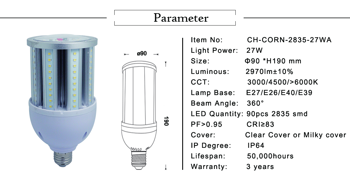 Dimmable 36w led corn bulb
