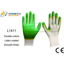 T / C Shell doble de colores de látex recubierto guante de trabajo de seguridad (L1411)