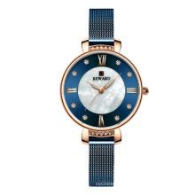 REWARD Quartz Women Watch Rhinestone Wristwatch Luxury Gold Bracelet Dress Stainless Steel Mesh Reloj de mujer