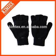 Модные акриловые трикотажные перчатки без пальцев с клапаном