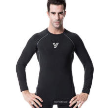 Apretado alto elástico de manga larga hombres Fitness ropa corriendo entrenamiento