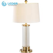 LEDER weiße kurze Nachttischlampen