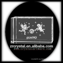 K9 3D Laser Grabado Gemini grabado bloque de cristal