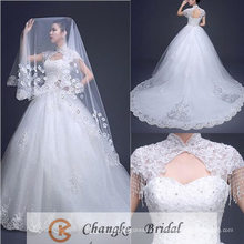 2017 Robe de mariée de haute qualité Sweetheart Ball Gown Court Train Pattern Robe de mariée 2016 Voiles gratuits