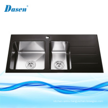 UPC Black Glass Top Double Bathroom Mold Vessel Sink In Kitchen With Drainer