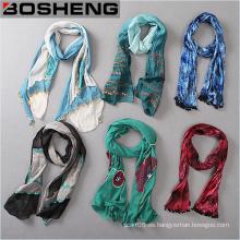Bufandas impresas a medida, Bufanda larga colorida de las mujeres de la manera