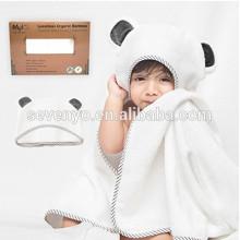100% Organic Bamboo Hooded Baby Towel & Washcloth Set | Extra Large Hooded Bath Towel With Gray Panda Ears For Babies Newborn