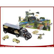 Educational DIY Toys Military Base with Toys Truck Carry Case Toys 2 in 1