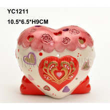 Hand-Painted Heart-Shaped Candlesticker Holder