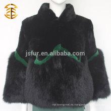 Whosale Moda Mujer Stand Collar Rex genuina piel de conejo y Fox Fur Coat