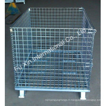 Cage de stockage de métal de palette en acier de fil de maille de roulement