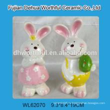 Сказочный дизайн керамического искусства кроликов, керамическая статуэтка кролика, фигурка из керамического кролика для пасхального украшения 2015 года