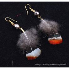 Vente chaude de boucles d'oreilles en plumes indiennes naturelles