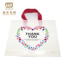 Custom design biodegradable design your own logo printed plastic loop handle thank you bags