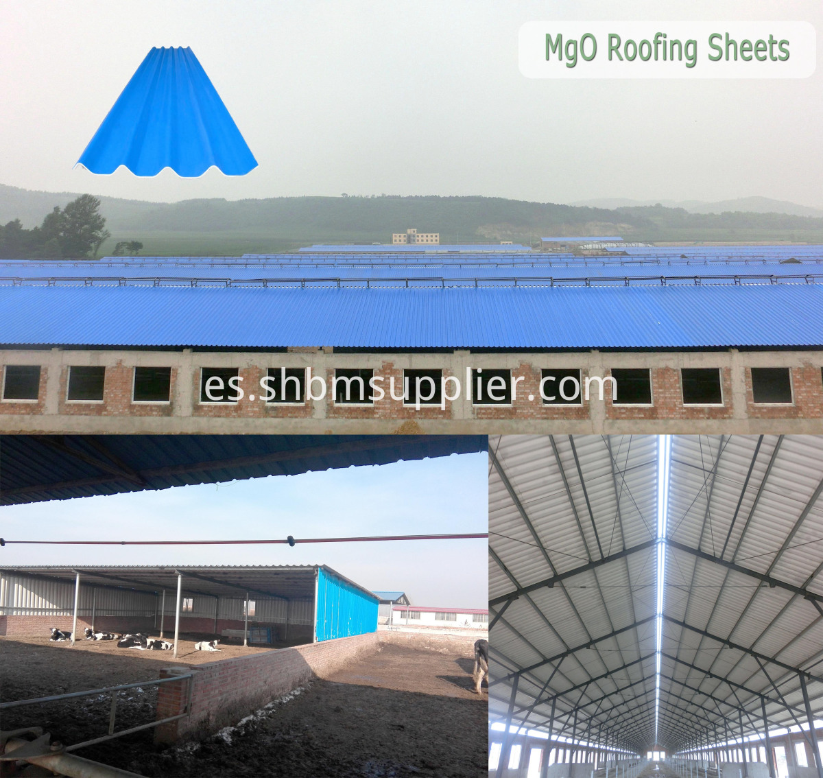 Anti-corrosion Fireproof Workshop MgO Corrugated Roof Sheets