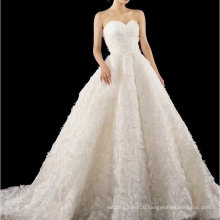 Strapless Long Train Lace Wedding Dress