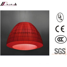 Lantern-Design Red Fabric Pendant Light for Hotel