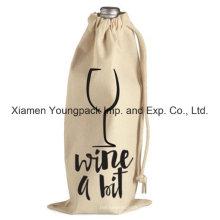 Promocional Custom Drawstring tela de algodón de tela de vino bolsa