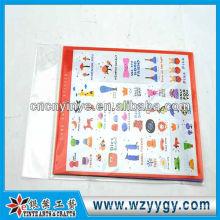 Nuevo encargo pequeñas etiquetas engomadas del PVC para el aprendizaje de los niños