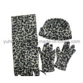 Customized Lady Knitted Winter Warm Printed Polar Fleece Set