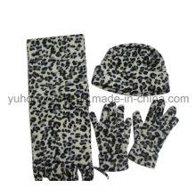 Mode Dame Stricken Winter Warm gedruckt Polar Fleece Set