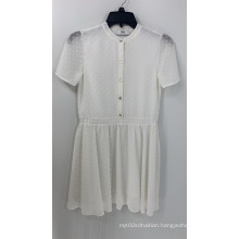 Women's White Dobby Short Sleeve Chiffon Dress