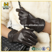 Gants de cuir Premium en peau de mouton Gants en cuir court Femmes avec gants en cuir Fold Fashion Wear Dress