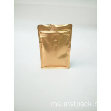 Golden Zipper Coffee Flat Bottom Pouch