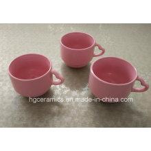 Heart Handle Coffee Mug, Red Coffee Mug