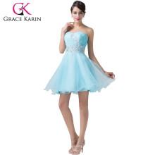 Grace Karin trägerlosen glänzenden Strass kurze blaue Muster von Cocktailkleid CL6178