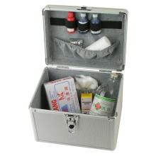 El envase portable de la vanidad de plata compone la caja cosmética de aluminio de la belleza