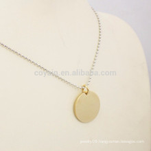 Personalized Your Logo Gold Round Pendant Necklace Jewelry