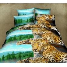Home Use 3D Leopard Literie Housse de couette Ensemble de literie avec housse de coussin