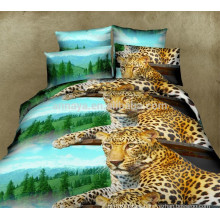 Home Use 3D Leopard Bedclothes Duvet Cover Bedding Set with Cushion Cover