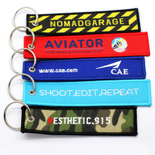 Promotional Wholesale Custom Brand Name Travel Souvenir Woven Embroidery Logo Fabric Keychains