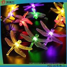 Luz LED de corda solar multi-cor com libélula