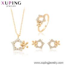 64705 xuping boucle d'oreille stud pentagram pendentif mode femmes ensemble de bijoux